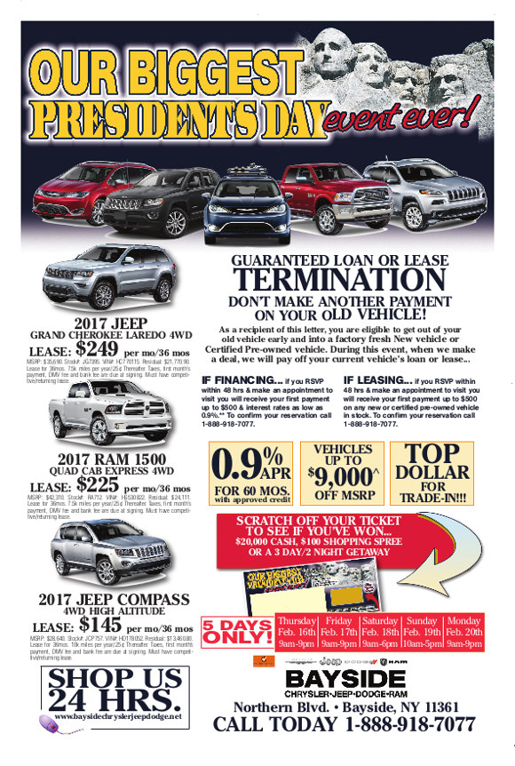 Presidents Day Car Sales 2017 >> President S Day 2017 Sales Event At Bayside Chrysler Jeep Dodge